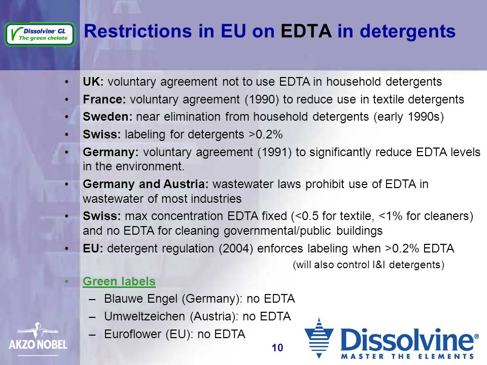 Restrictions in EU on EDTA in detergents