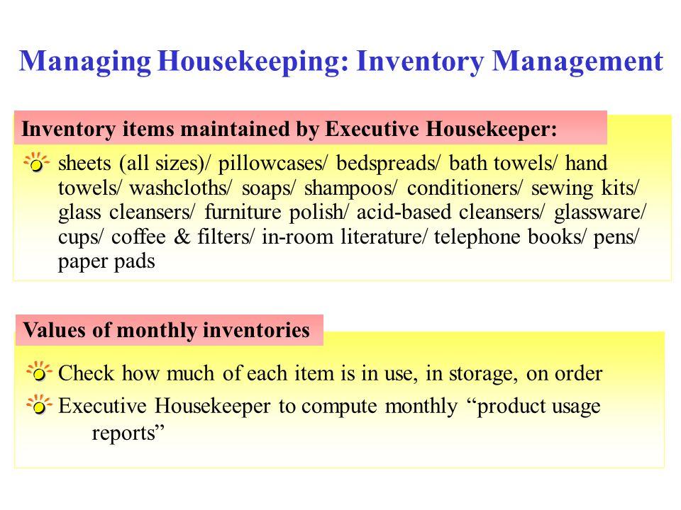 Managing Housekeeping: Inventory Management