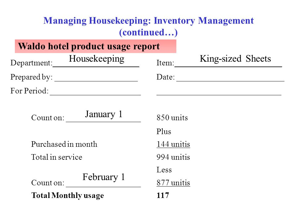 Managing Housekeeping: Inventory Management (continued…)