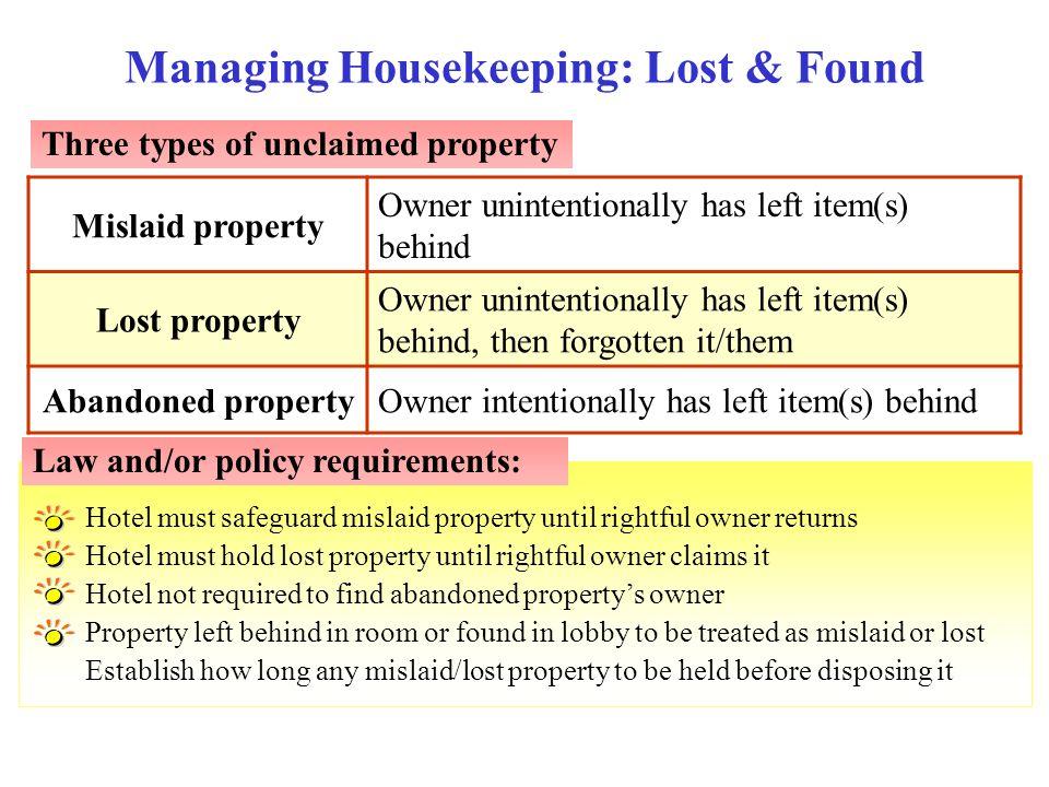 Managing Housekeeping: Lost & Found