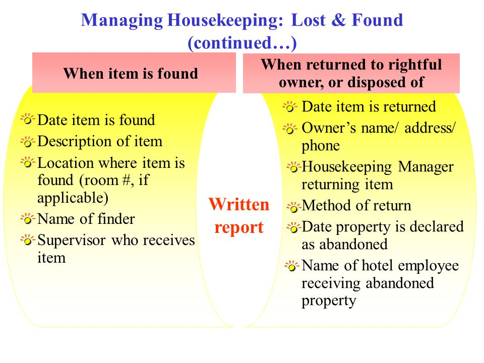 Managing Housekeeping: Lost & Found (continued…)