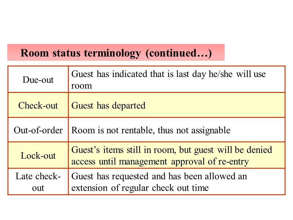 Room status terminology (continued…)
