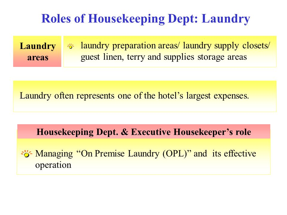 Roles of Housekeeping Dept: Laundry