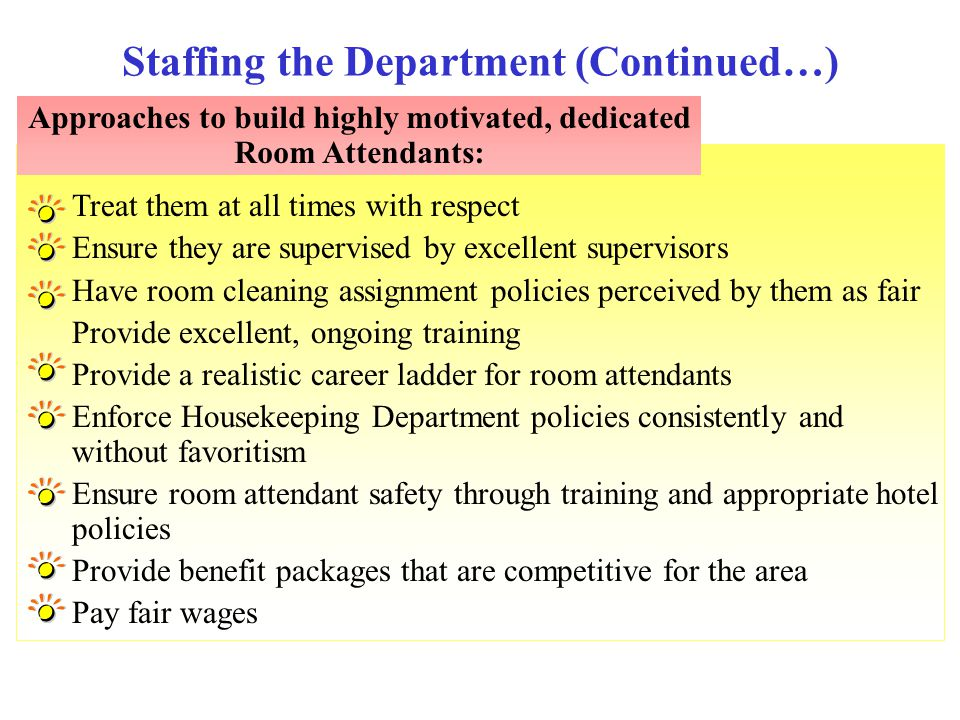 Staffing the Department (Continued…)