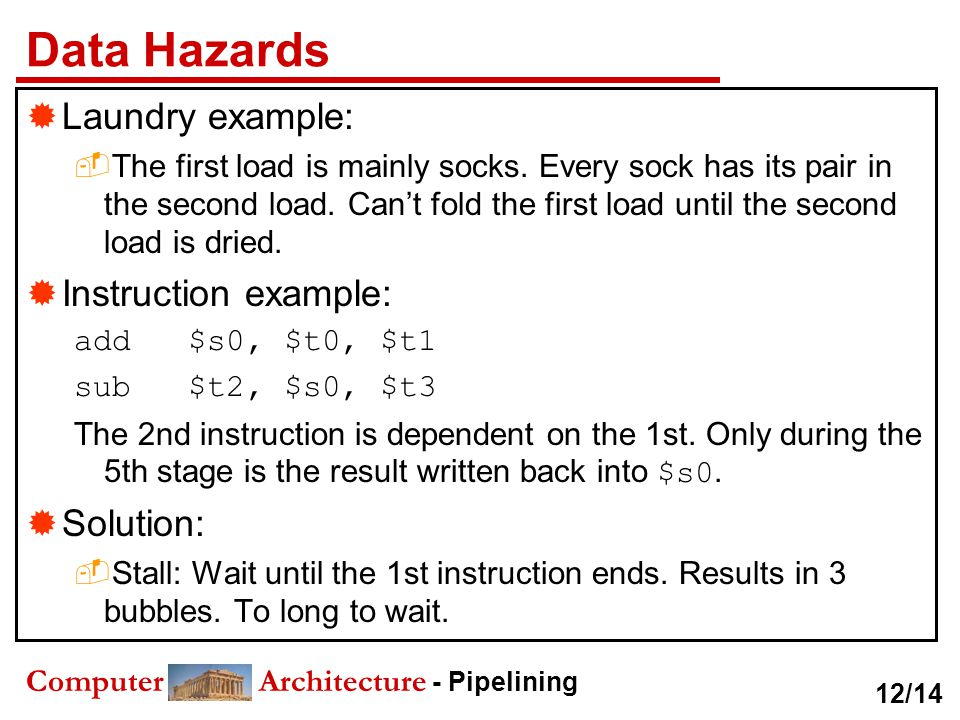 Data Hazards Laundry example: Instruction example: Solution: