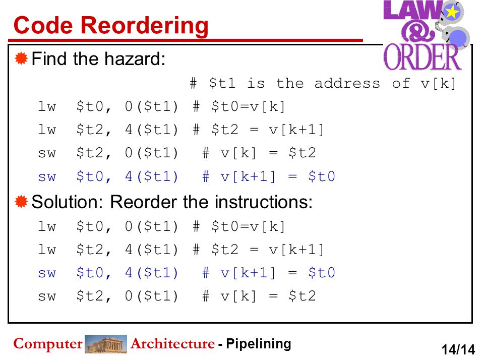 Code Reordering Find the hazard: Solution: Reorder the instructions: