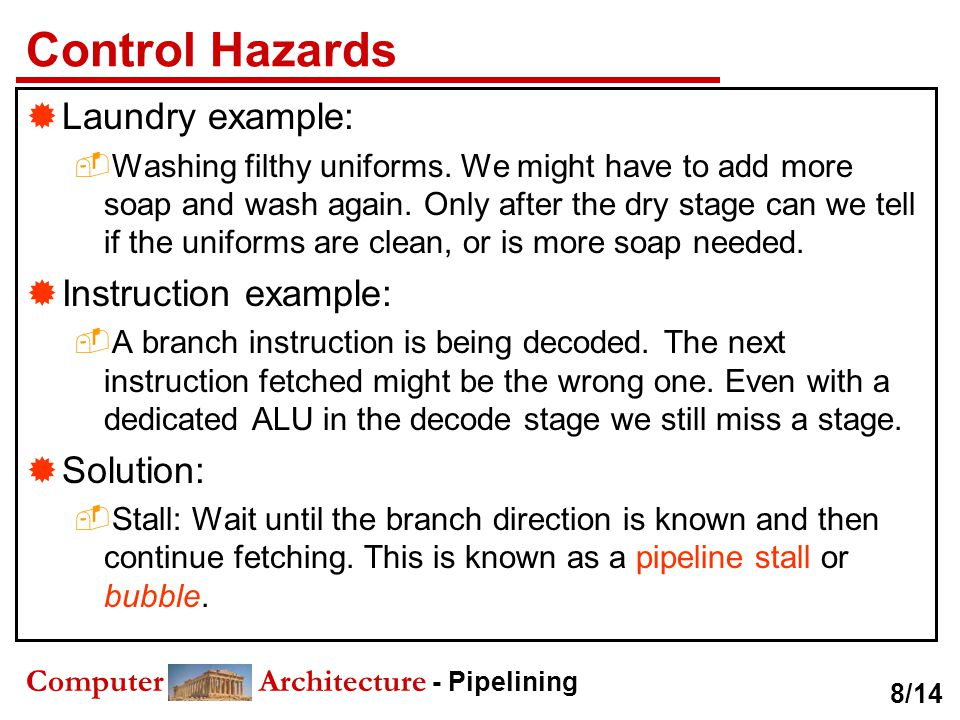 Control Hazards Laundry example: Instruction example: Solution: