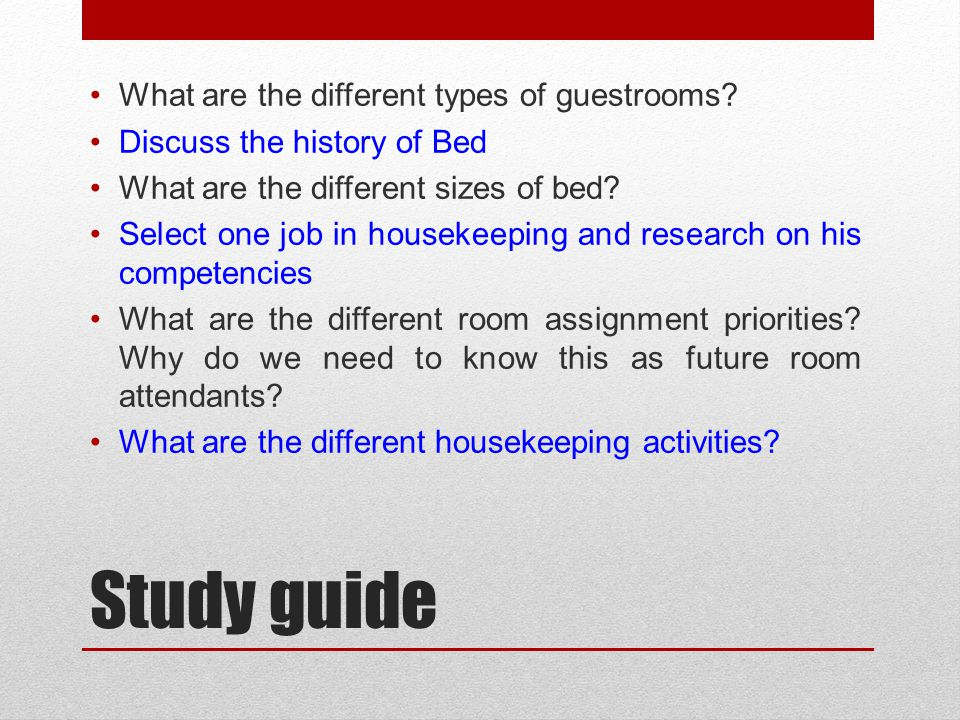 Study guide What are the different types of guestrooms