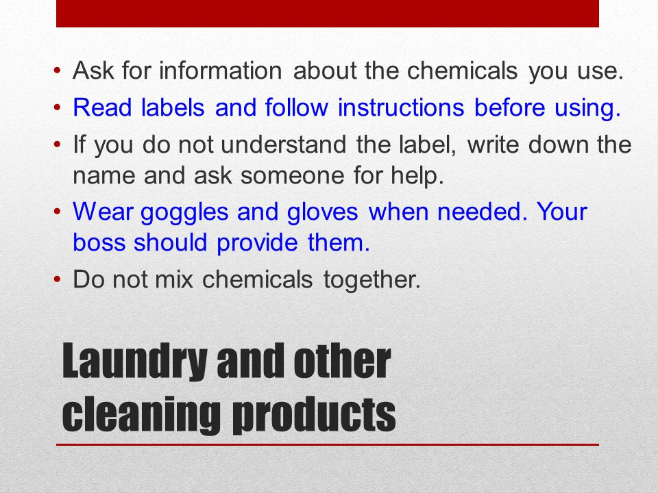 Laundry and other cleaning products