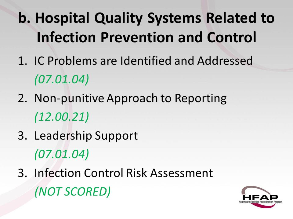 b. Hospital Quality Systems Related to Infection Prevention and Control