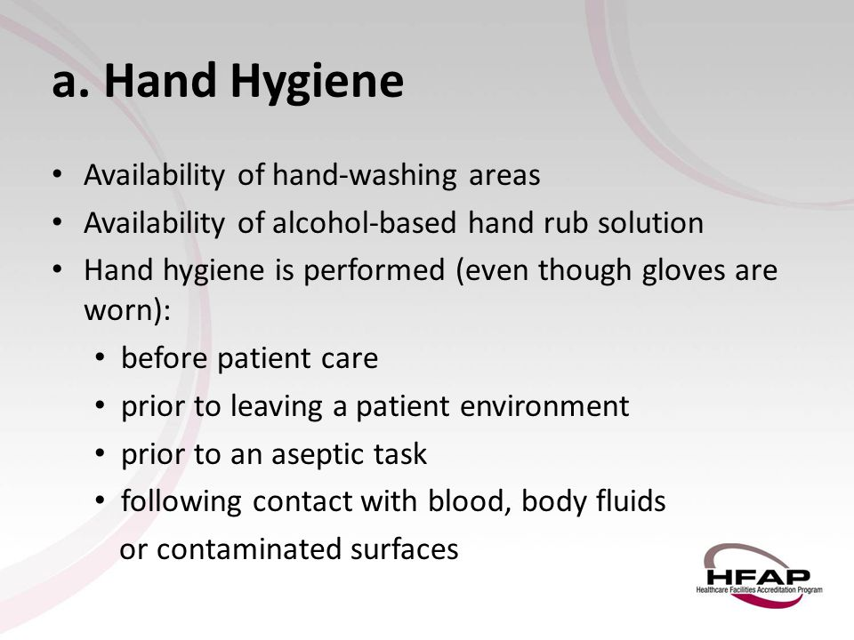 a. Hand Hygiene Availability of hand-washing areas