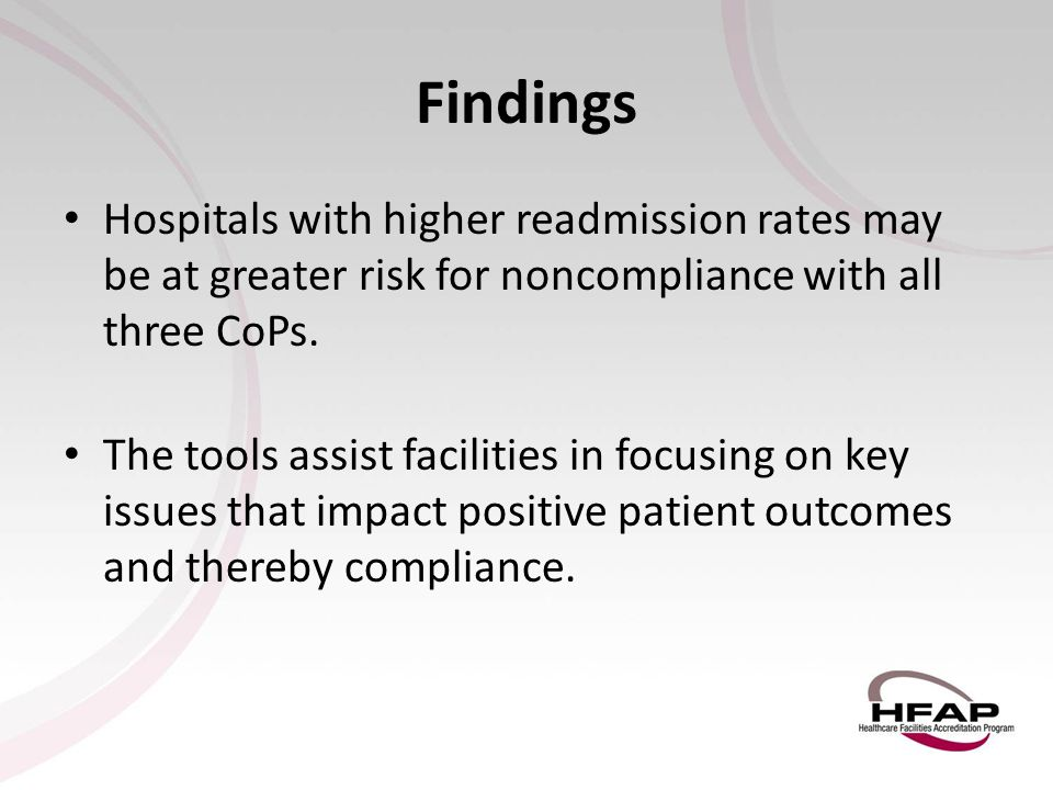 Findings Hospitals with higher readmission rates may be at greater risk for noncompliance with all three CoPs.