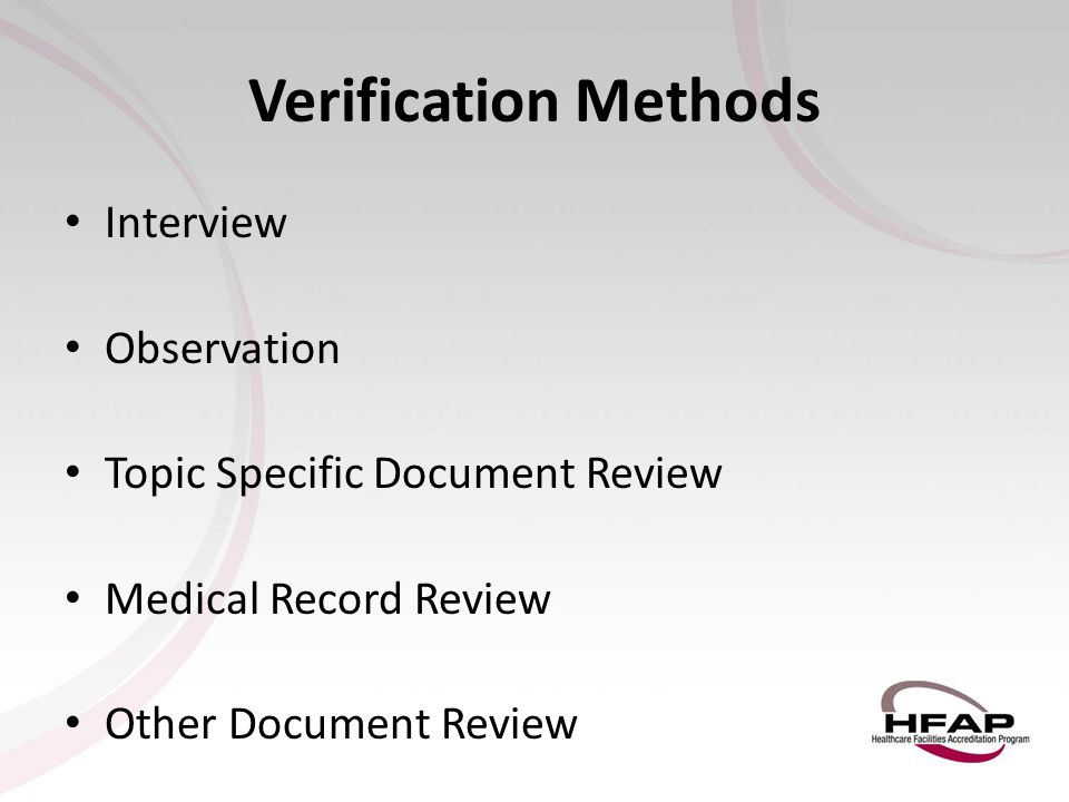 Verification Methods Interview Observation