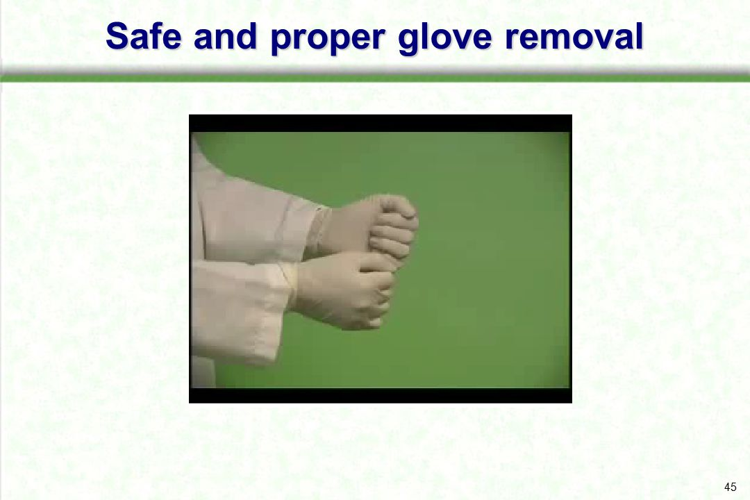 Safe and proper glove removal