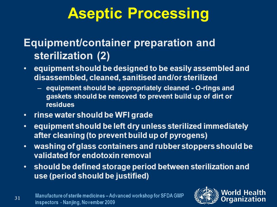 Aseptic Processing Equipment/container preparation and sterilization (2)