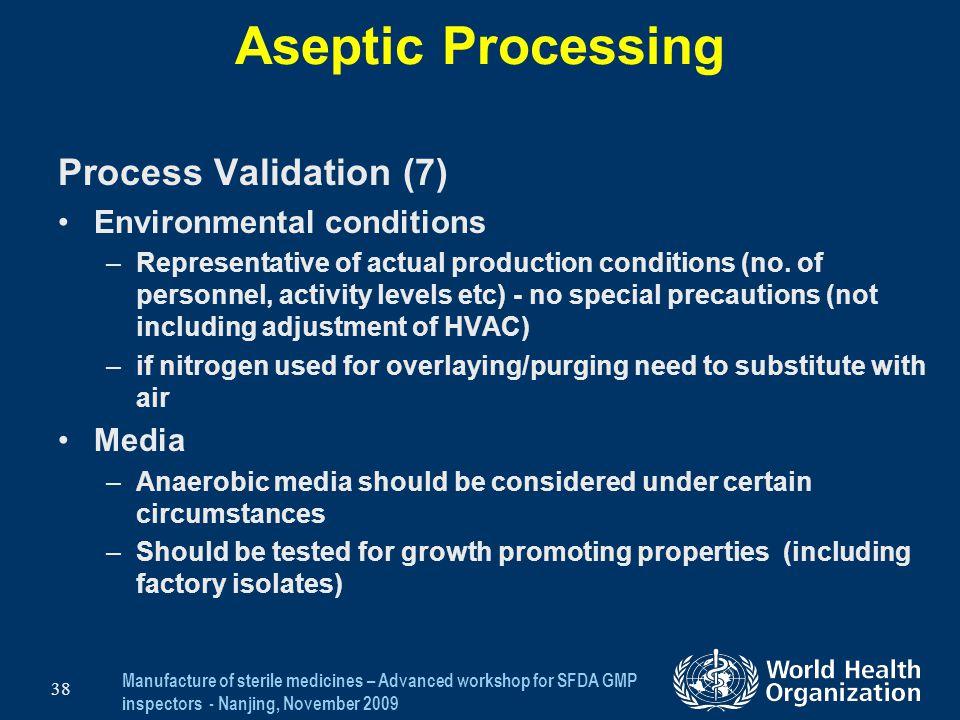 Aseptic Processing Process Validation (7) Environmental conditions