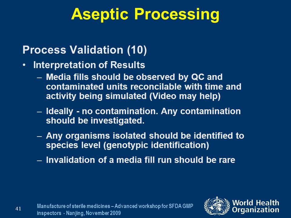 Aseptic Processing Process Validation (10) Interpretation of Results