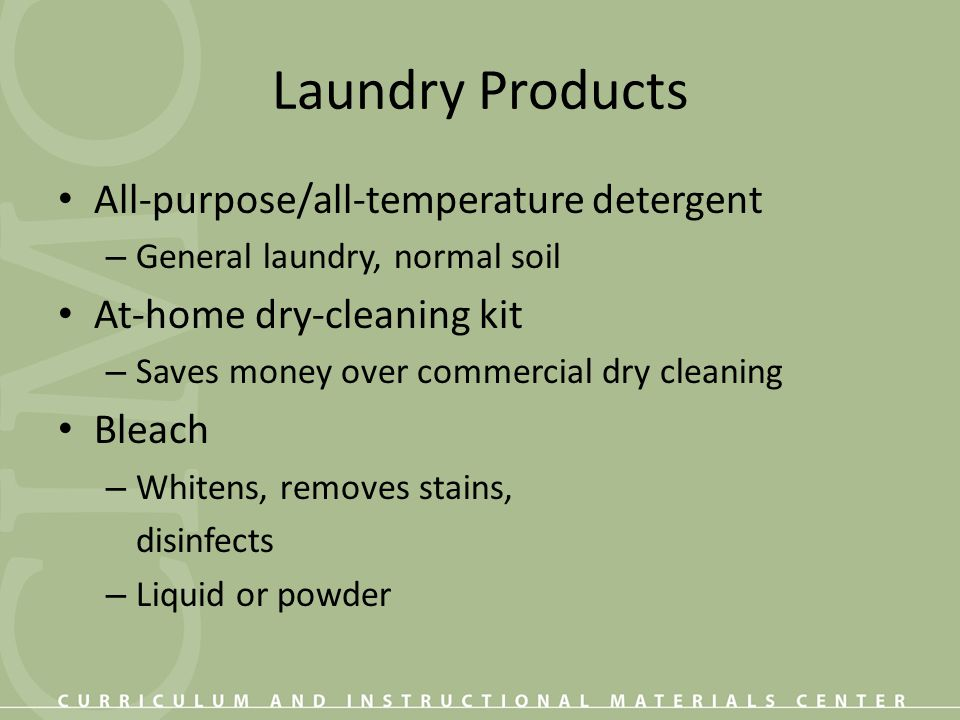 Laundry Products All-purpose/all-temperature detergent