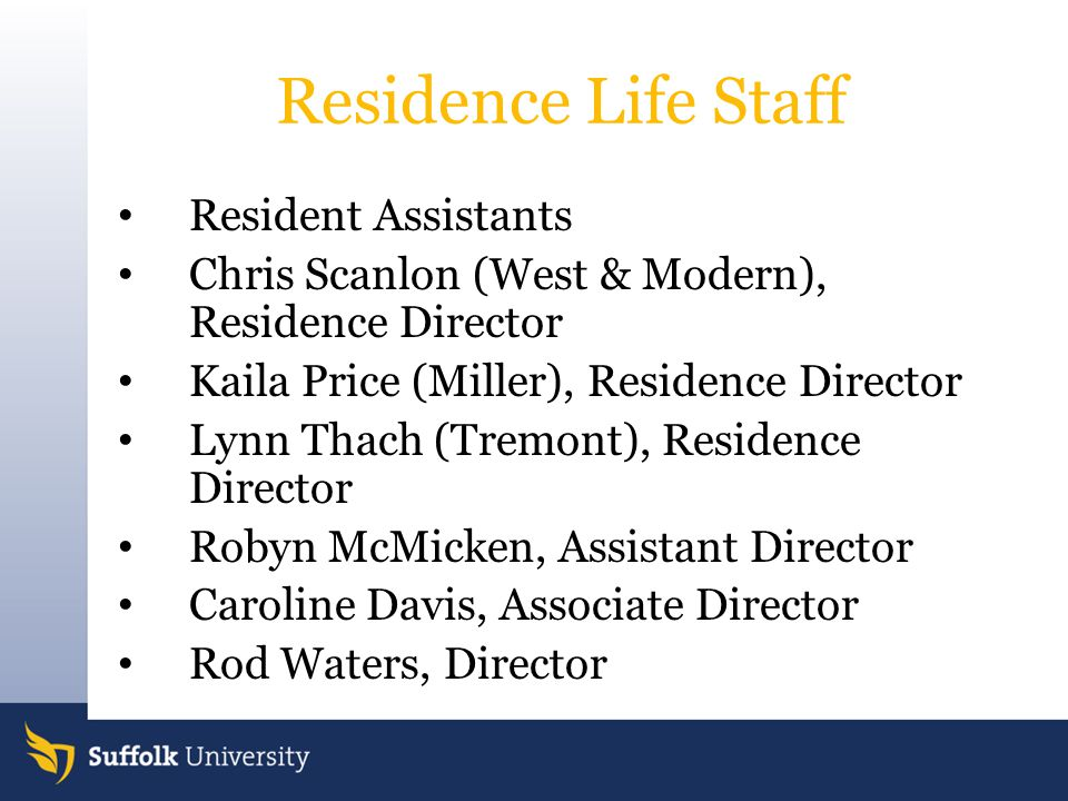 Residence Life Staff Resident Assistants