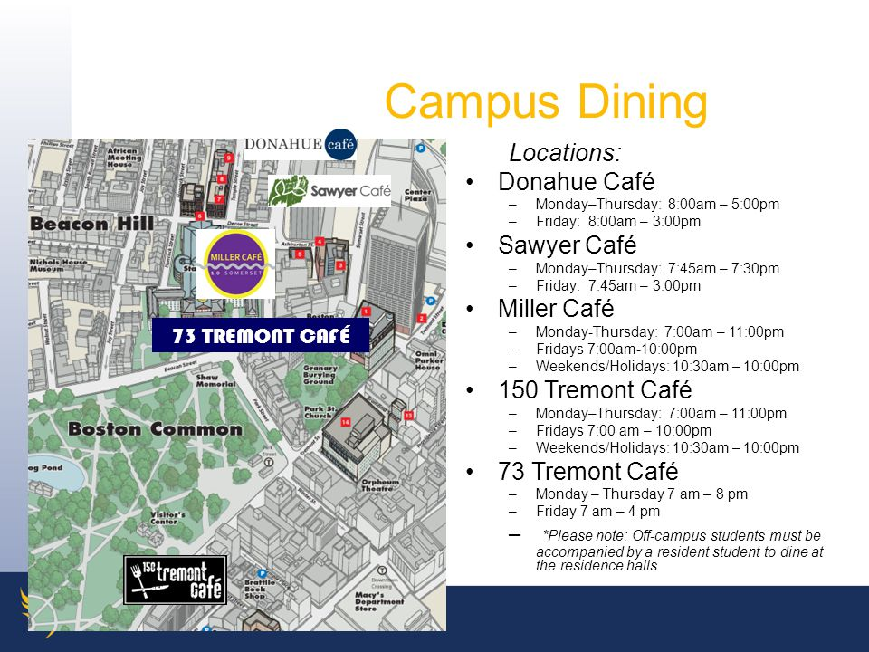 Campus Dining Locations: Donahue Café Sawyer Café Miller Café