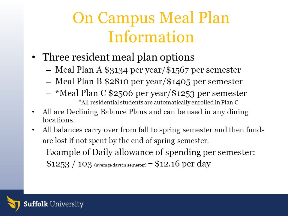 On Campus Meal Plan Information