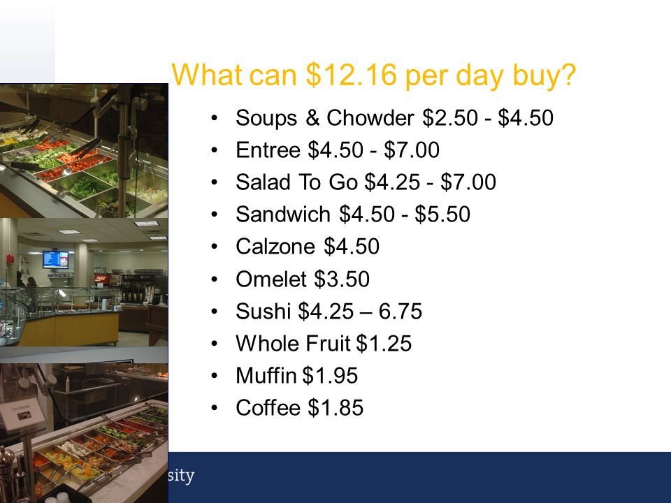 What can $12.16 per day buy Soups & Chowder $2.50 - $4.50