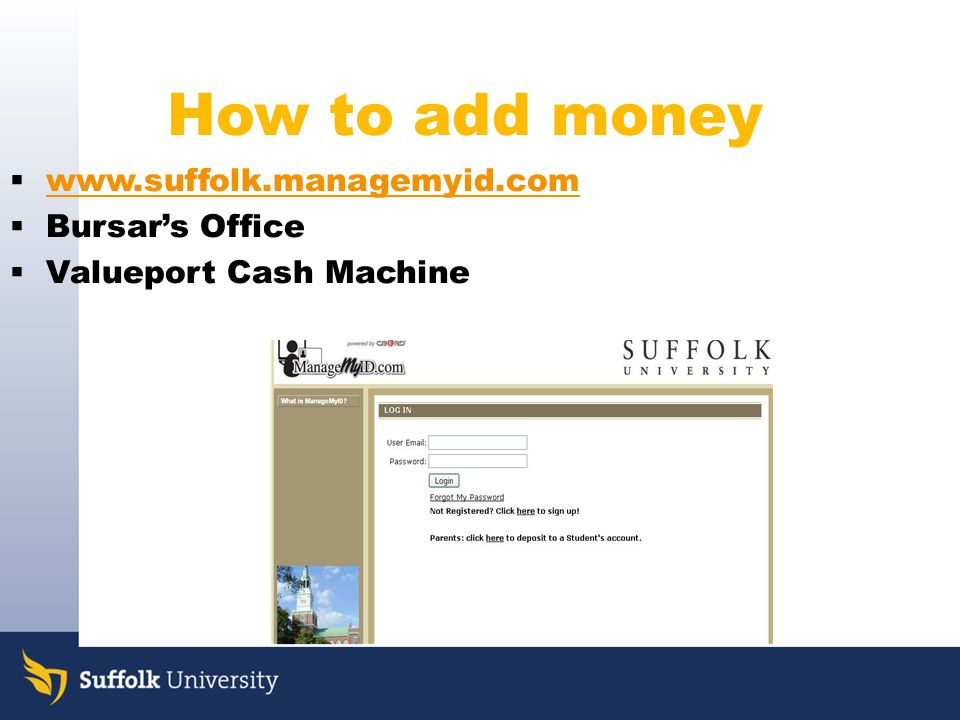 How to add money www.suffolk.managemyid.com Bursar's Office