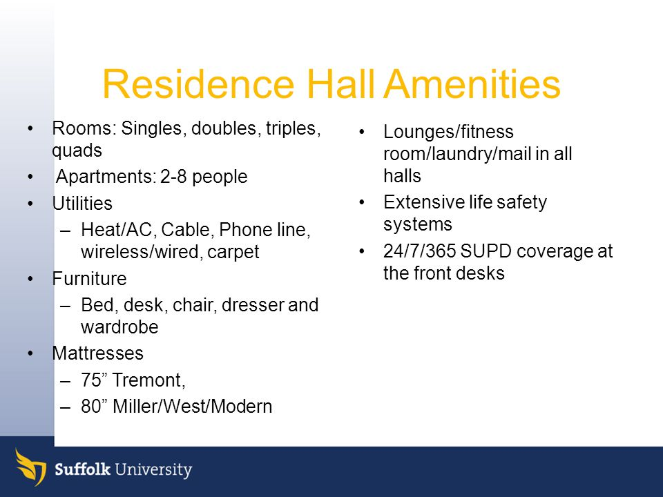 Residence Hall Amenities