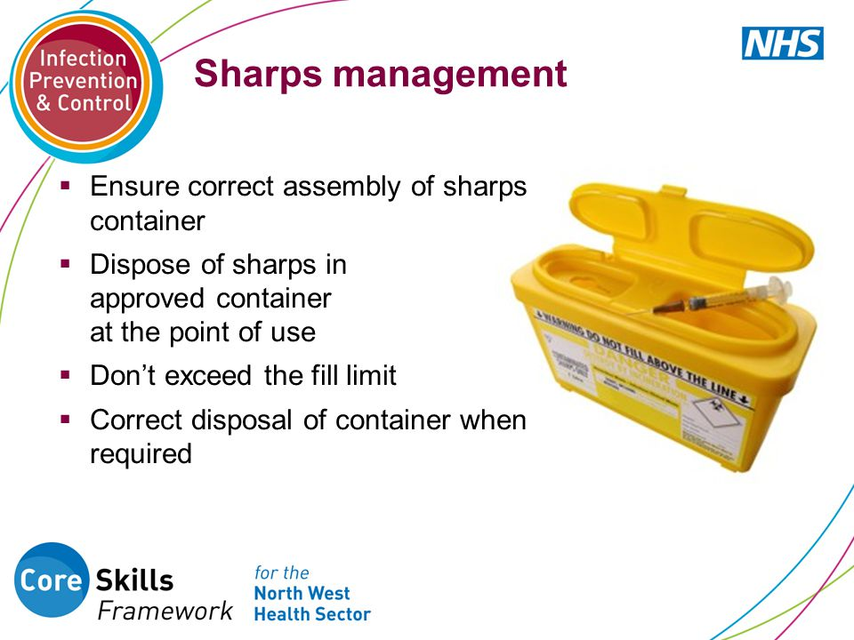 Sharps management Ensure correct assembly of sharps container