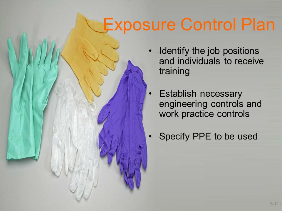 Exposure Control Plan Identify the job positions and individuals to receive training.