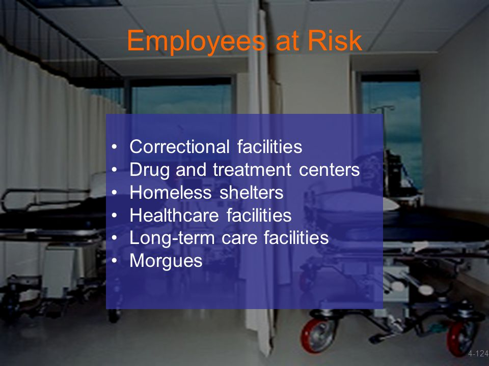 Employees at Risk Correctional facilities Drug and treatment centers