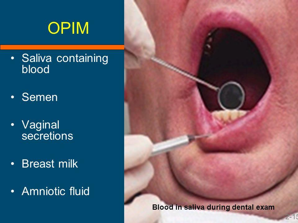 OPIM Saliva containing blood Semen Vaginal secretions Breast milk