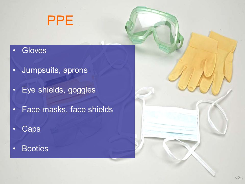 PPE Gloves Jumpsuits, aprons Eye shields, goggles