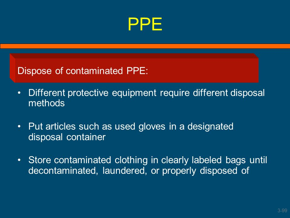 PPE Dispose of contaminated PPE: Dispose of contaminated PPE
