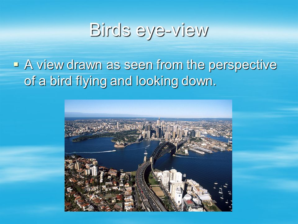 Birds eye-view A view drawn as seen from the perspective of a bird flying and looking down.