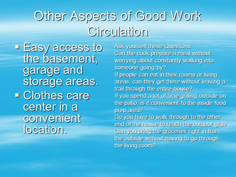 Other Aspects of Good Work Circulation