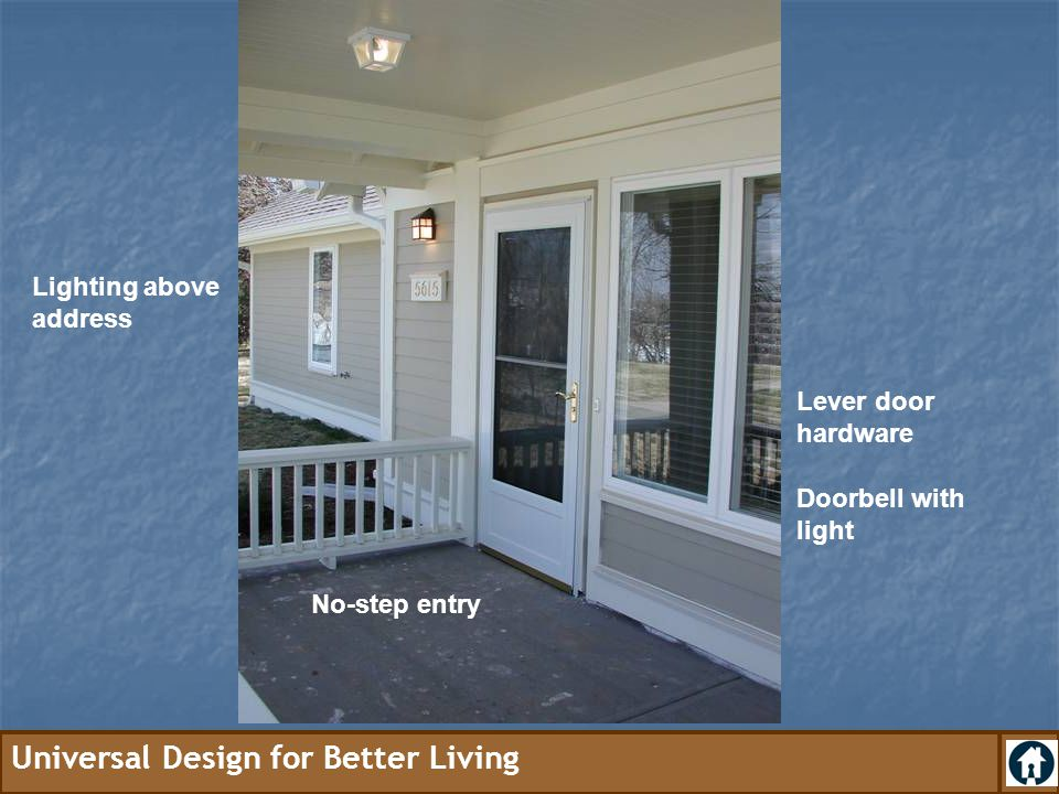 Lighting above address Lever door hardware Doorbell with light