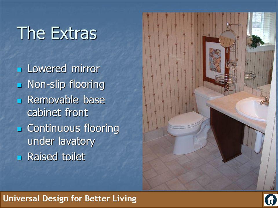 The Extras Lowered mirror Non-slip flooring