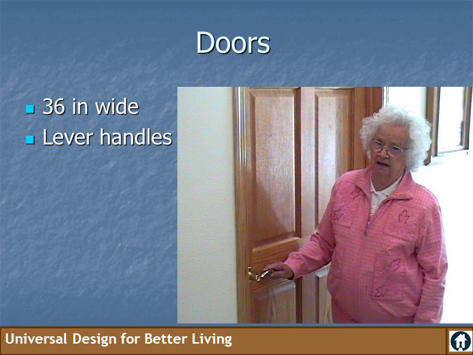 Doors 36 in wide Lever handles