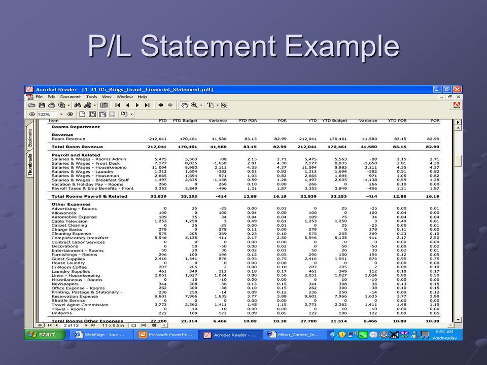 P/L Statement Example