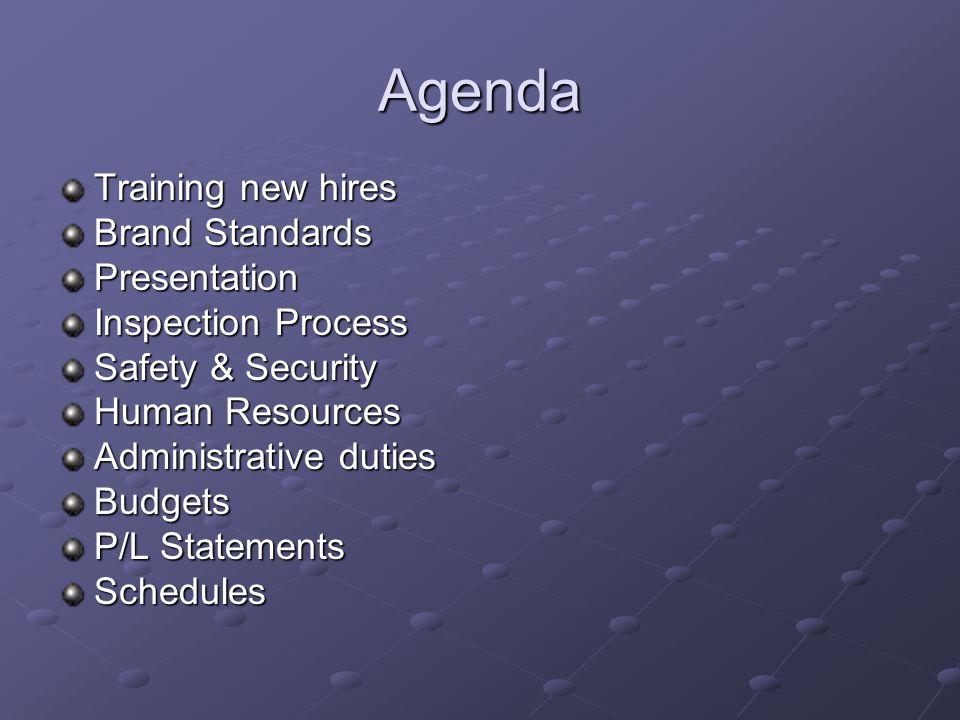 Agenda Training new hires Brand Standards Presentation