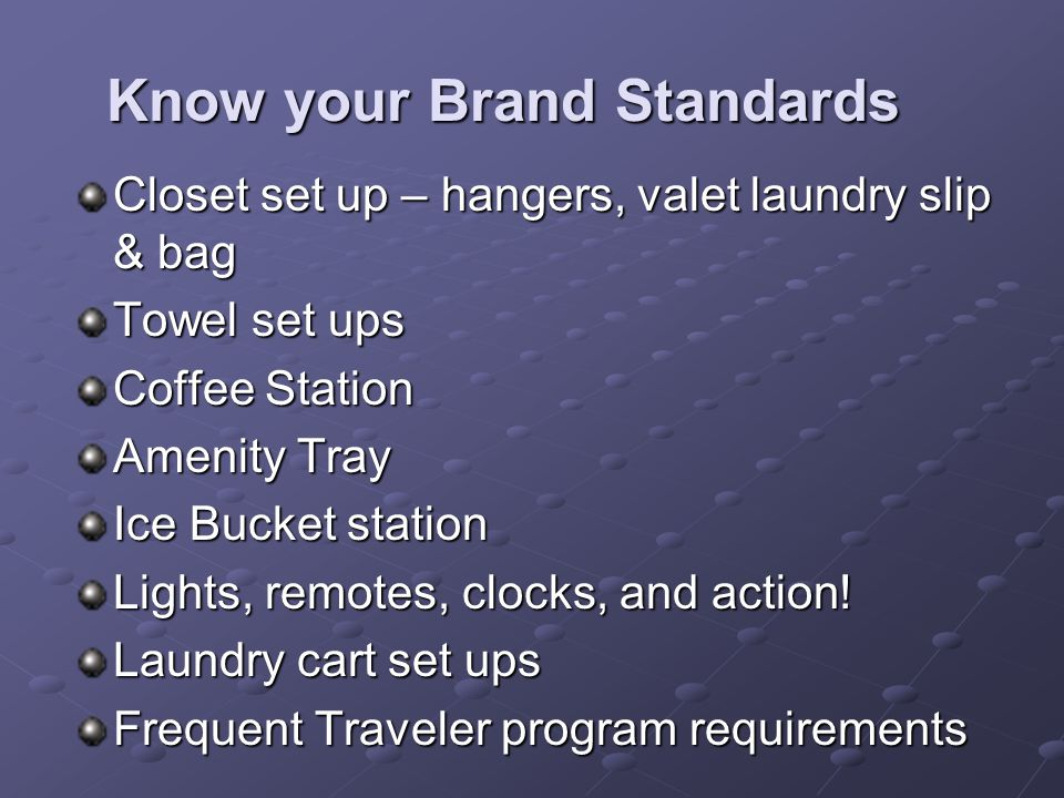 Know your Brand Standards