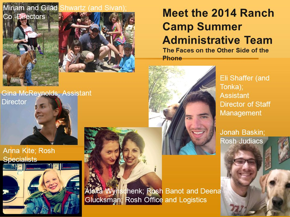 Meet the 2014 Ranch Camp Summer Administrative Team