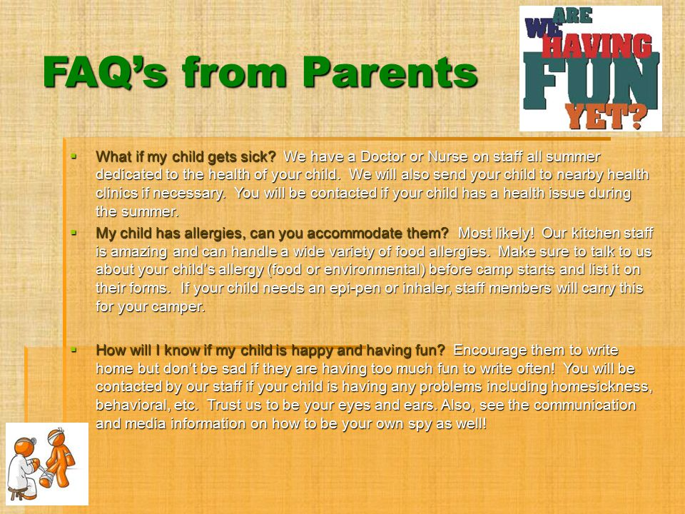FAQ's from Parents