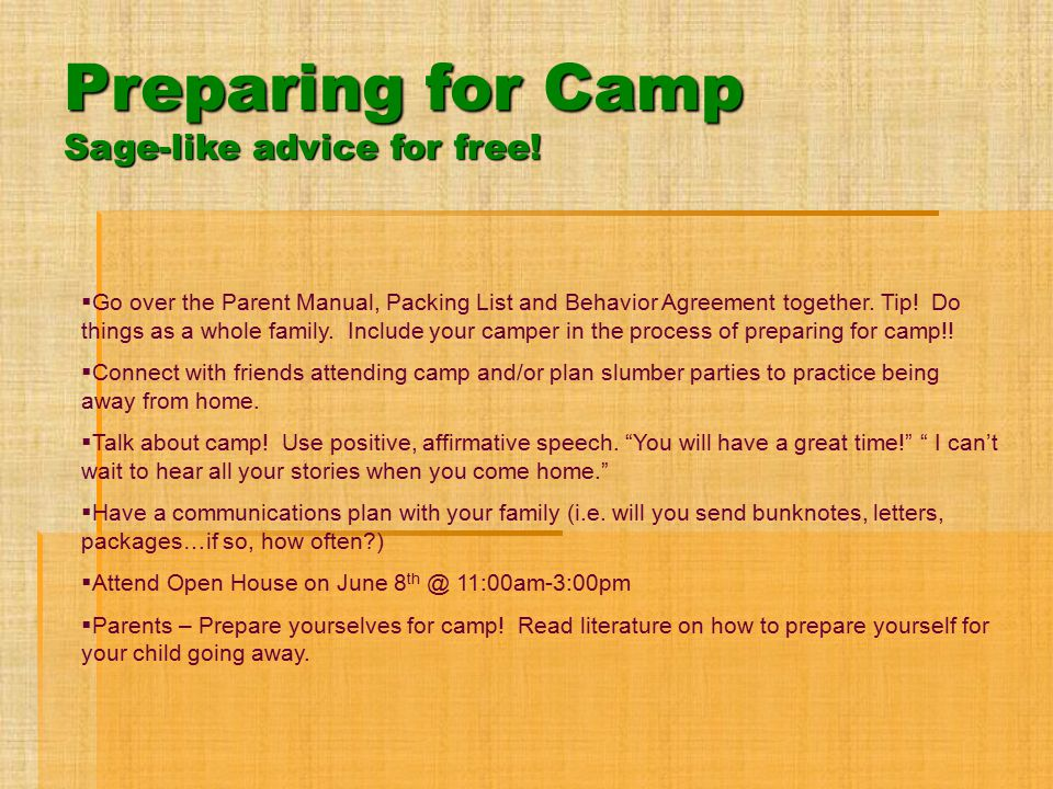 Preparing for Camp Sage-like advice for free!