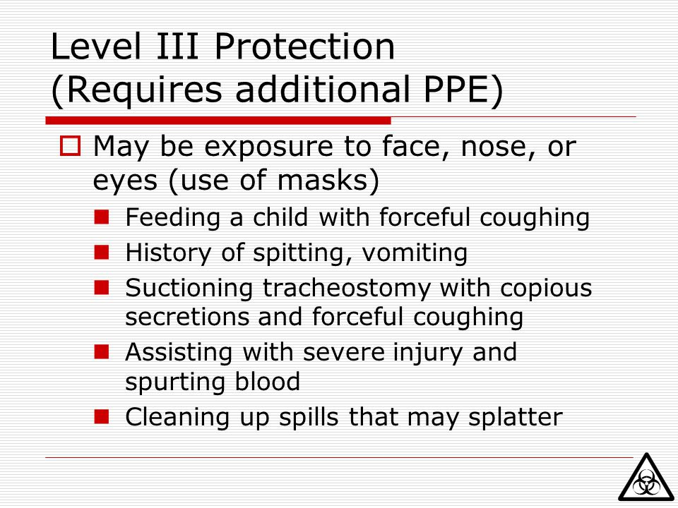 Level III Protection (Requires additional PPE)