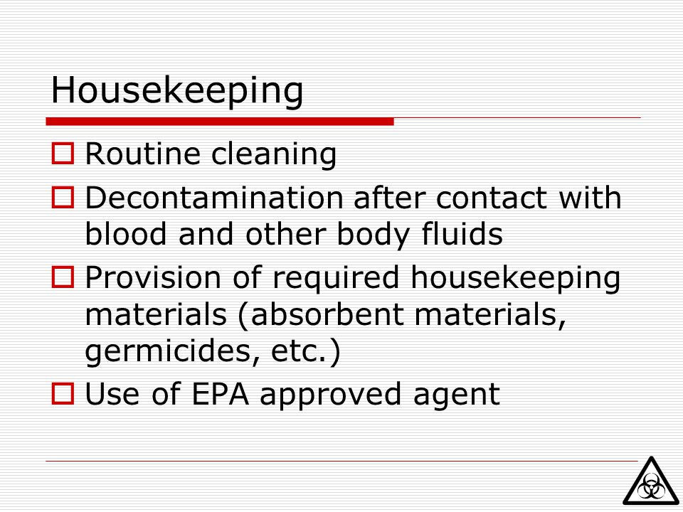 Housekeeping Routine cleaning
