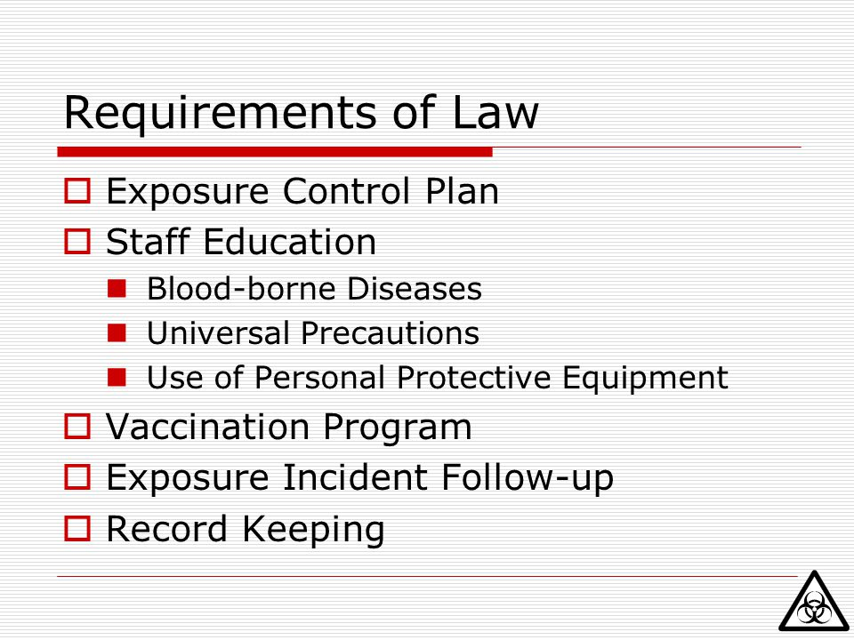 Requirements of Law Exposure Control Plan Staff Education