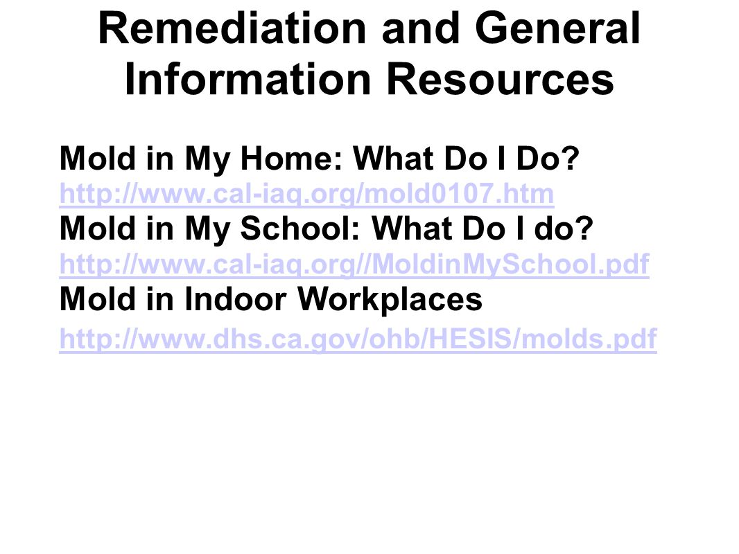 Remediation and General Information Resources