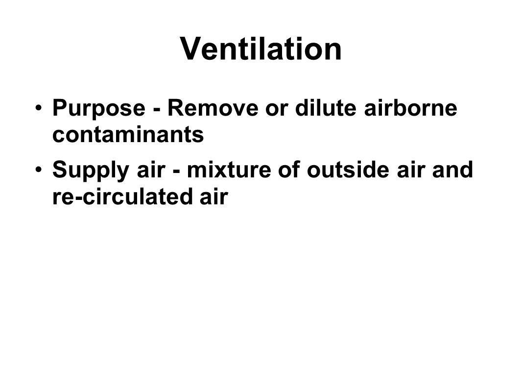 Ventilation Purpose - Remove or dilute airborne contaminants